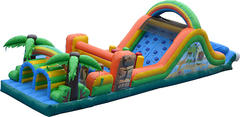 48ft Tiki Island Double Lane Obstacle Course (Wet)