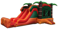 Tropical Fiesta Combo Bounce House Double Lane Slide (Wet)