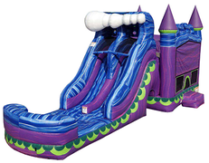 Mystical Mermaids Bounce House and Double Lane Slide Combo (Wet)