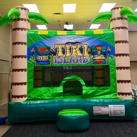 Tiki Bounce House  2-in-1  w/ Basketball Hoop
