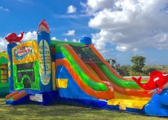 Kahuna Bounce House Slide Combo (Wet/Dry) 3-in-1 w/ Basketball Hoop
