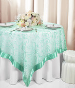 "60"" Round Table Overlay (Tiff Blue/Aqua Blue Edge Embroidered Sheer Organza)"