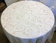 "60"" Round Table  Lace Overlay (Gold)"