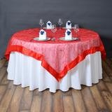 "60"" Round Table Overlay (Red Satin Edge Embroidered Sheer Organza)"
