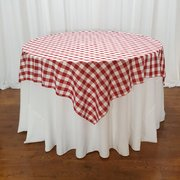 "60"" Round Table  (Checkered Overlay 70"" x 70"" White/ Red Plaid Polyester )"