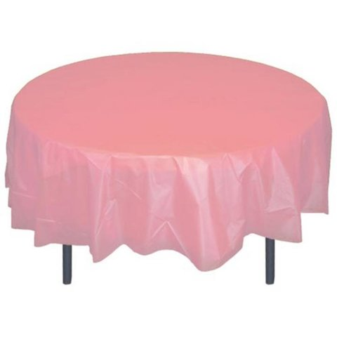 Round Hot Pink Plastic Tablecloth