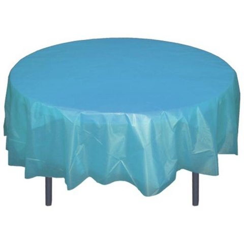 Round Sky Blue Plastic Tablecloth