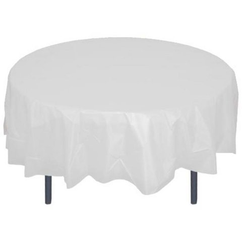 Round White Plastic Tablecloth