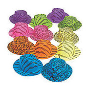 12 Neon Animal Print Gangster Hats Assortment