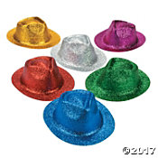 12 Adult Glitter Fedora Assortment