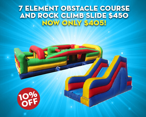 7 Element Obstacle and Rock Climb Slide