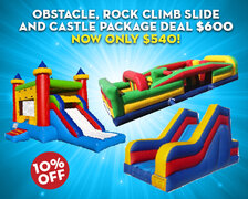 Obstacle, Rock Climb Slide and Castle Package Deal $600  Now only $540!