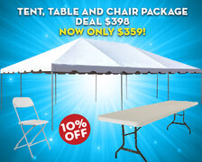 Tent, Table and Chair Package Deal $398  Now only $359