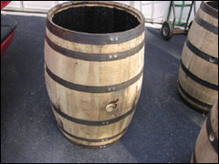 Whiskey/Wine Barrel Trash Can