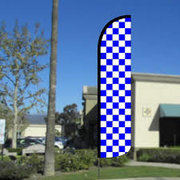 Blue & White Check Feather Banner