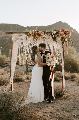 Wooden Arch + Macrame Backdrop