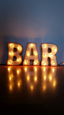 Metal Marquee BAR Sign 7 inch letters