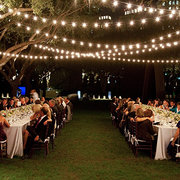 300' Bistro Lights Set Up With Poles