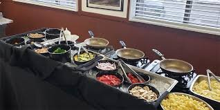 Catering: Pasta Bar Station (cooked to order - Onsite) Includes: Homemade Marinara Sauce, Pesto, Alfredo, Angel Hair Pasta and Penne, Chicken, Sausage, Ground Beef, Shrimp, all of the veggie mixins, Fresh Salad with Dressings, Dinner Rolls with Butter, 40