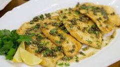 Chicken Piccata over Pasta, sauteed green beans and dinner rolls with butter (Per Person charge - 50 person Minimum)
