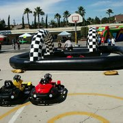 4 Kiddie Go Carts With inflatable Track