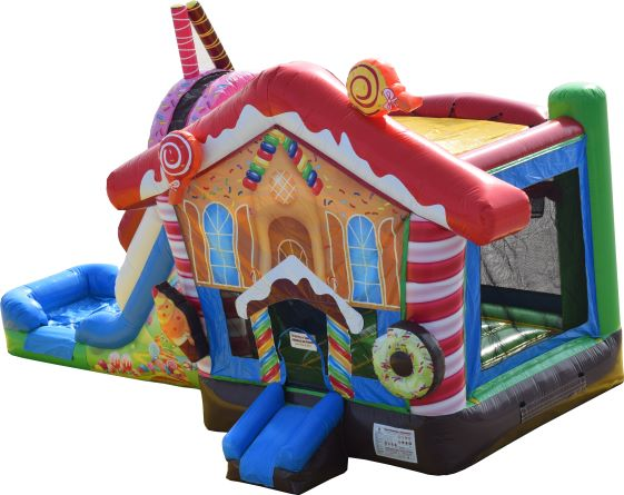 candy land bounce house slide combo