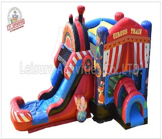 circus themed bounce house slide combo