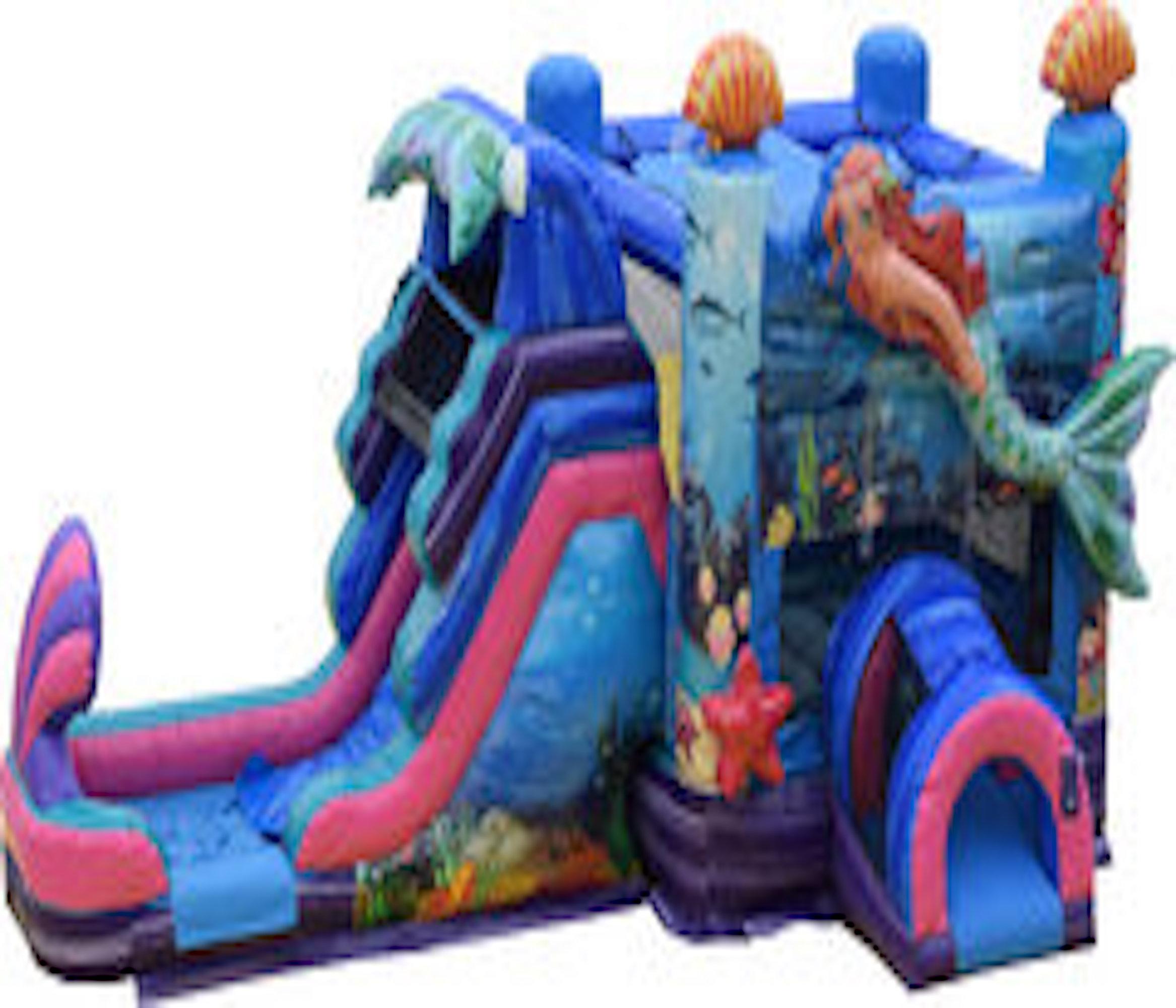 mermaid bounce house combo slide