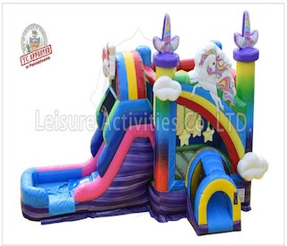 single lane unicorn bounce house slide combo