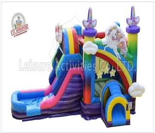 single lane unicorn bounce house slide combo