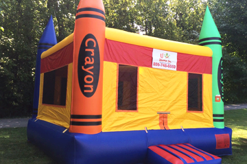Crayon themed bounce house
