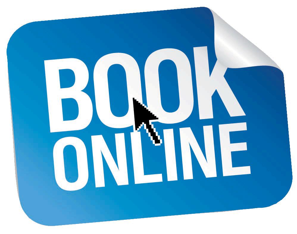 "Computer arrow over the ""Book Online"" sticker"