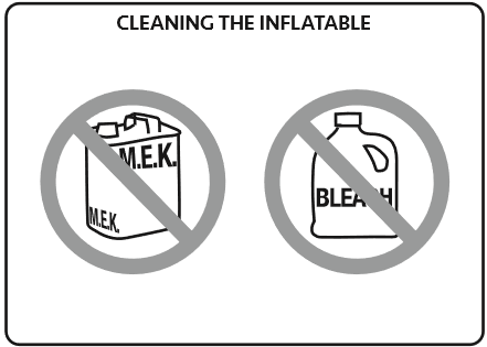 Cleaning supplies you should not use on inflatables