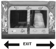 Decorative graphic; bounce house entrance with exit sign underneath.
