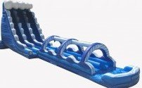 24 Ft Blue Marble 2 Lane Water Slide W/ 35 Ft Slip N Slide wPool