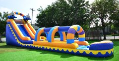56' Long Dolphin Water Slide and Slip and Slide Combo with Pool (Requires 2 Blowers)