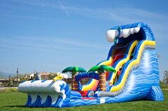 24 FT Shark Sighted  2 Lane Water Slide with Slip and Slide and Pool (Requires 2 Blowers)