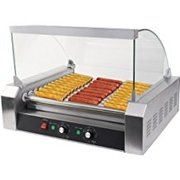 Commercial 30 Hotdog Maker 11 Roller Grilling Warmer Cooker Machine with Cover..