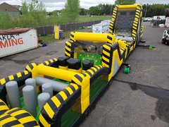 80 Ft Venom 2 Piece Obstacle Course With 19 FT Mega Rock Climb Obstacle Slide (Requires 3 Blowers)