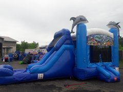 13 X 28 Dolphin Wet or Dry 5 in 1 Bounce House with Slide