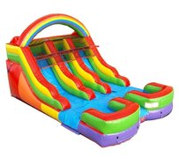14' Rainbow Dual lane water or dry slide  (best for 12 Y/O and under)