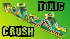 150' Toxic Crush - 4 Piece Obstacle Course With 22' Rock Climb Slide