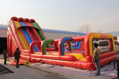 Triple Lindy 28' Tall 3 lane water slide with slip and slide - can be used WET or DRY (Requires 3 Blowers)