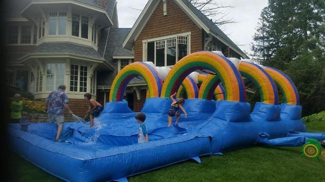 2 Lane Rainbow Slip and Slide With Pool  (Requires 2 Blowers)