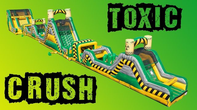 150' Toxic Crush 4 Piece Obstacle Course With 22' Rock Climb slide