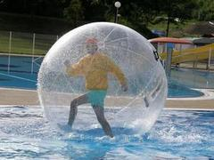 (D) 5 Water Walking Balls With 30ft Pool