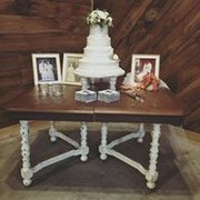 Wood Table with Distressed White Legs