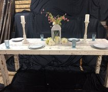 8ft Large White Distressed Farm Table