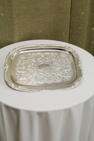 Silver Plastic Serving Tray Rectangle