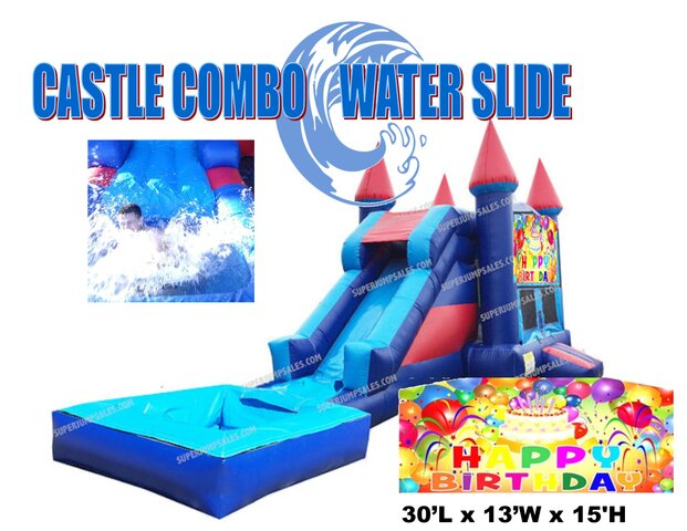 Happy Birthday Castle Combo Water Slide